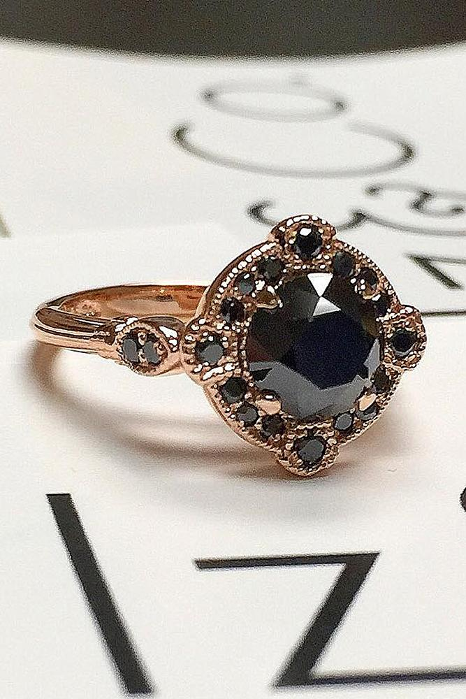 black diamond engagement rings round cut rose gold vintage