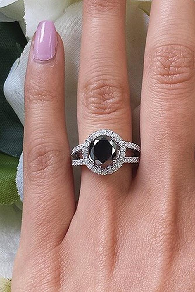 vintage cocktail pave gold style certified halo unique diamond black jewellery carat ring