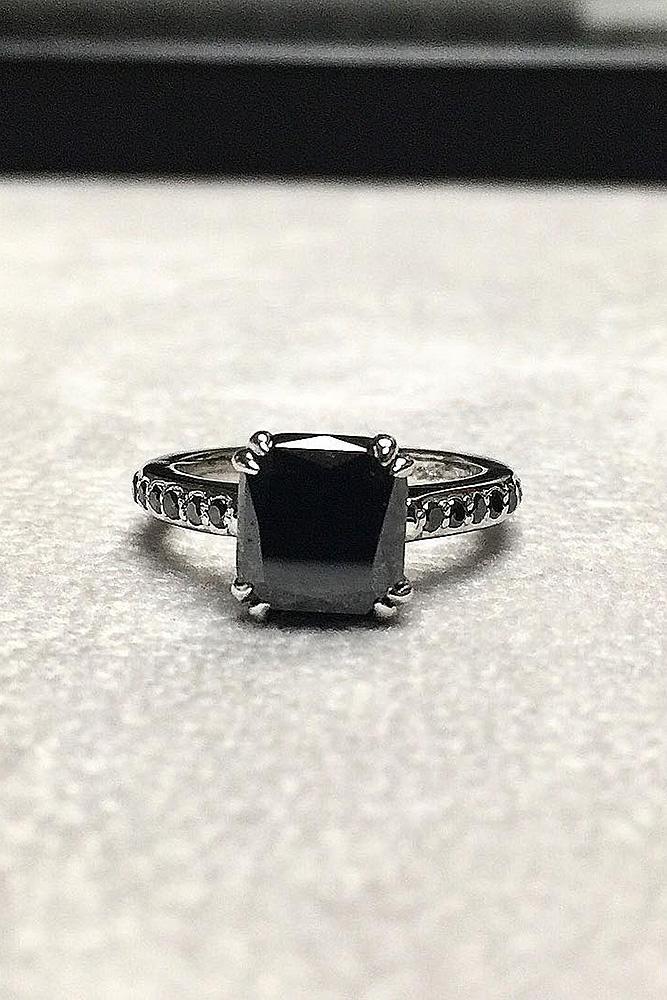black diamond engagement rings solitaire cushion cut white gold