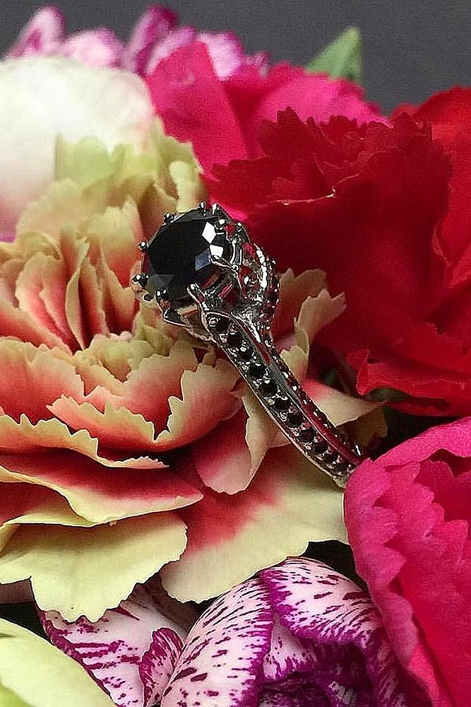 black diamond engagement rings solitaire