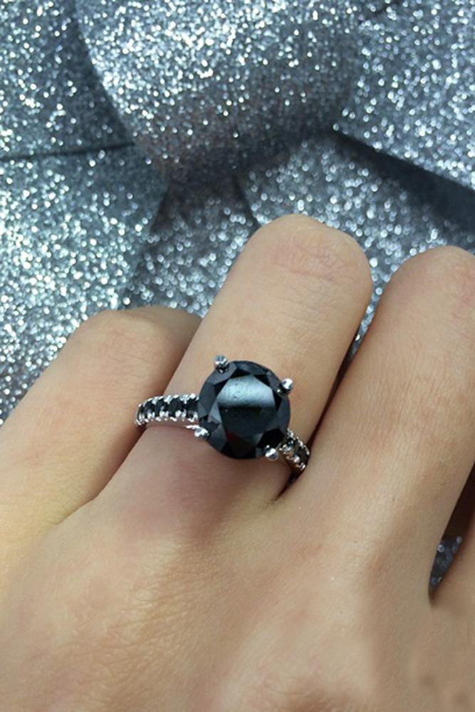 black diamond engagement rings solitaire white gold pave band round