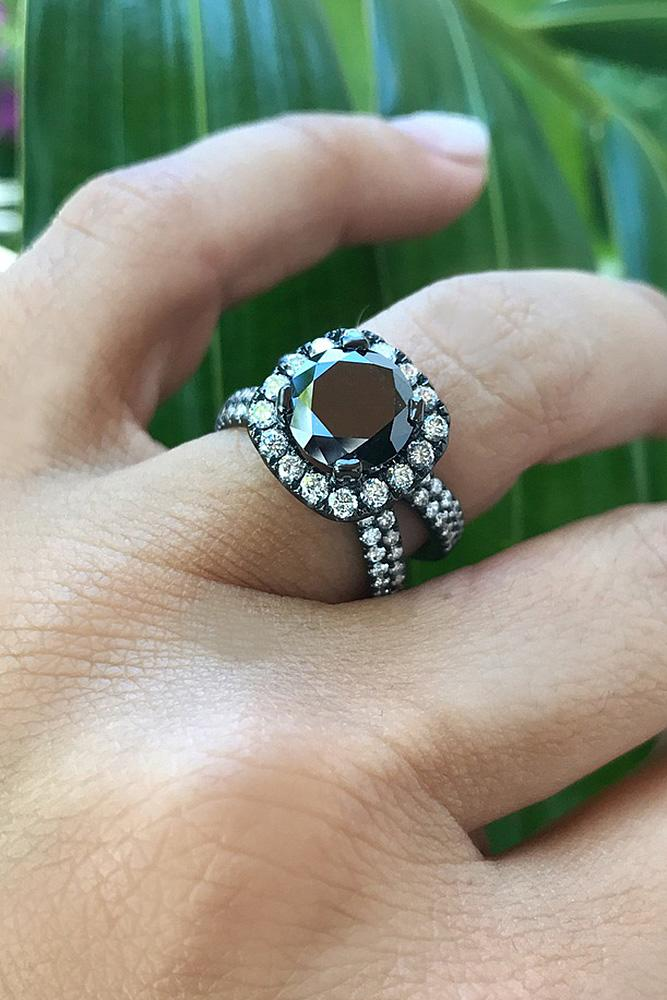 black diamond engagement rings split pave band halo