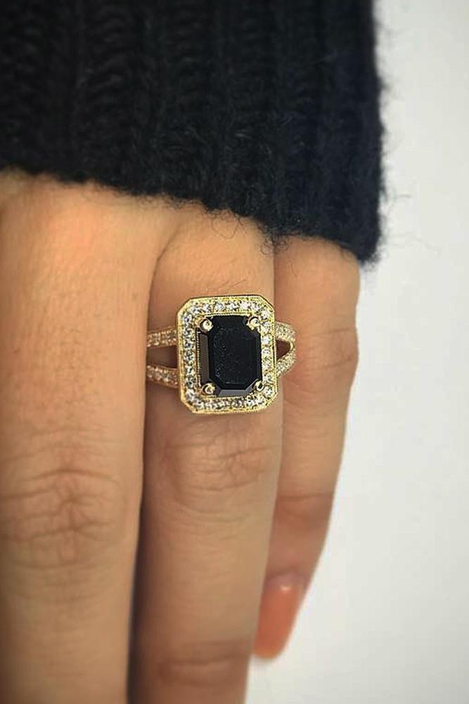 black diamond engagement rings split yellow gold halo