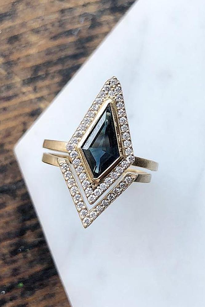 black diamond engagement rings unique gold set halo