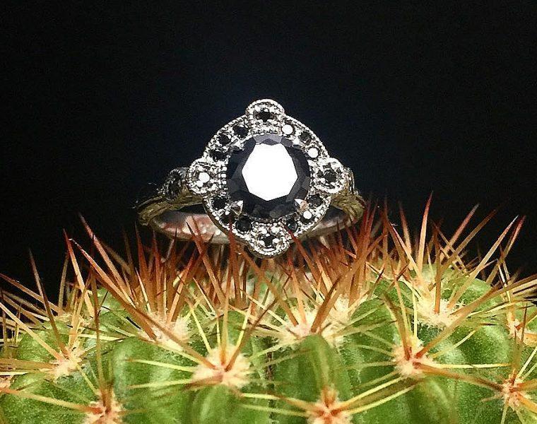 black diamond engagement rings vintage