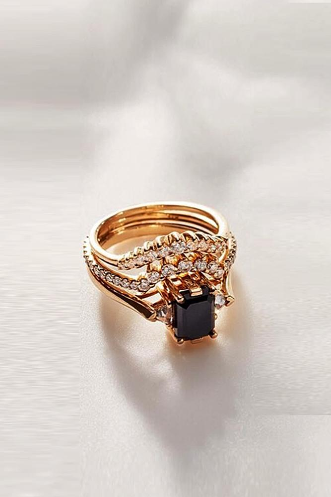 black diamond engagement rings wedding set gold