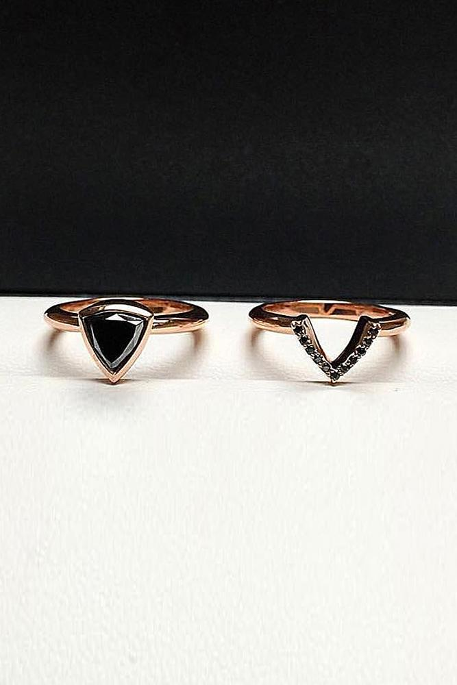 black diamond engagement rings wedding set gold unique modern