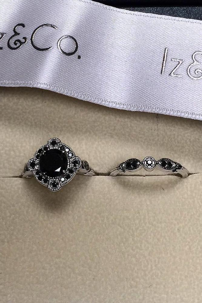 black diamond engagement rings wedding set white gold vintage band