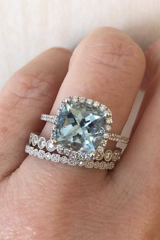 diamond wedding rings blue cushion cut diamond wedding set pave band