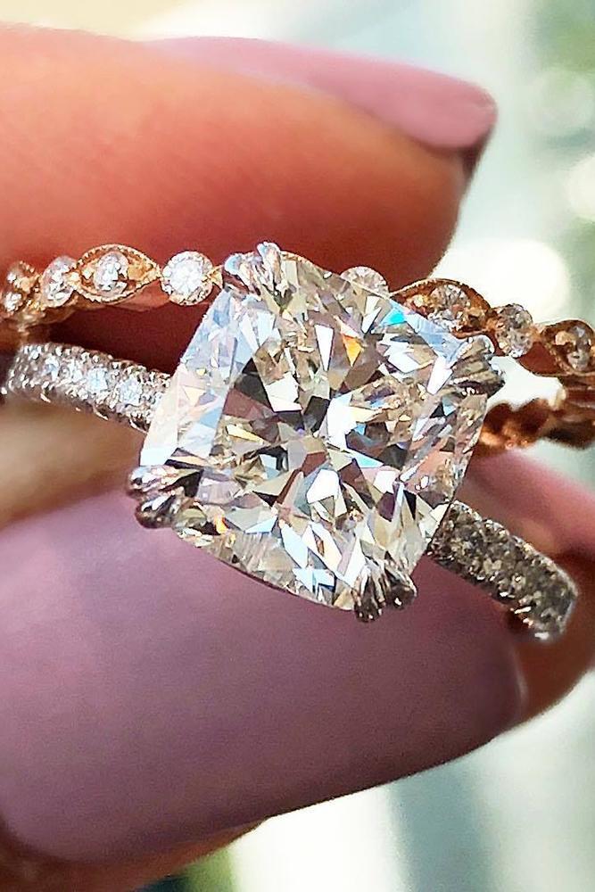 diamond wedding rings cushioncut diamond pave band white rose gold