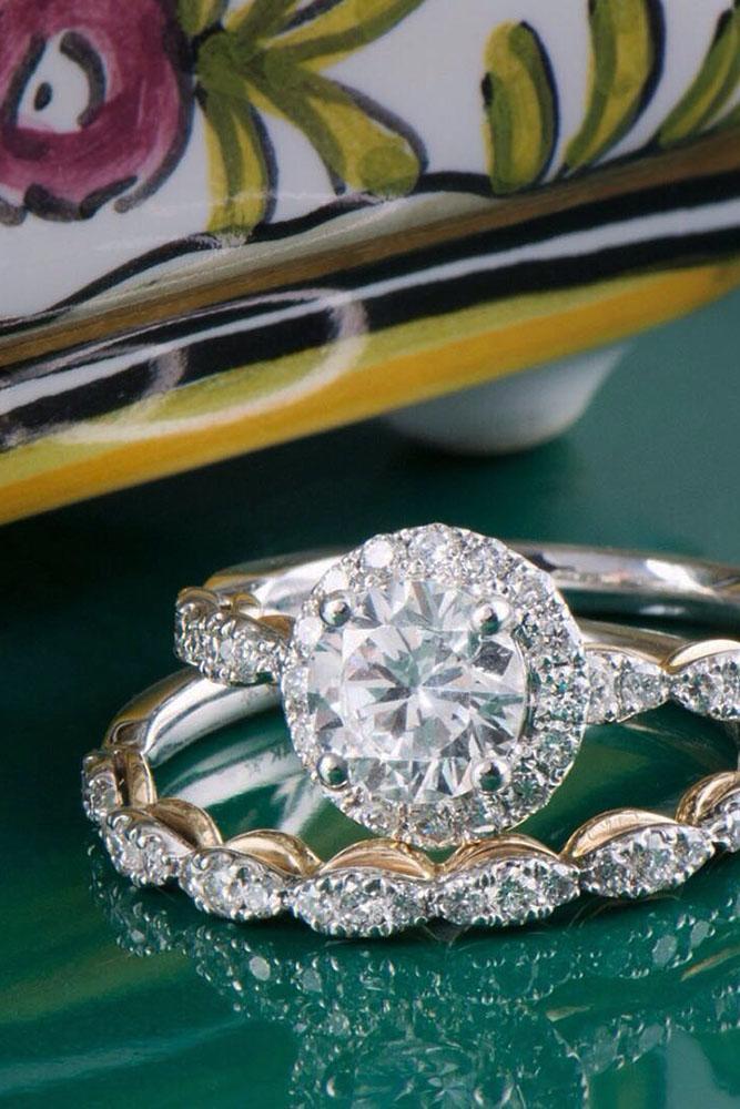 diamond wedding rings diamond band white gold halo round cut