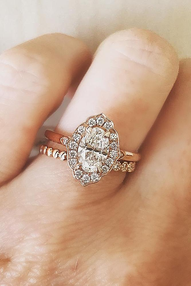 diamond wedding rings oval halo set rose gold