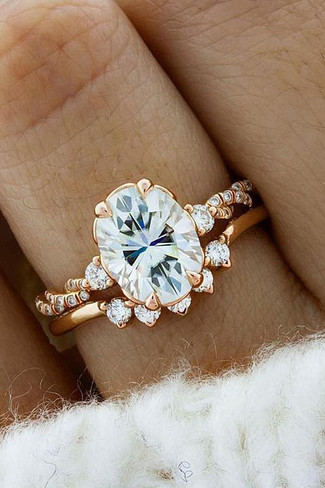 diamond wedding rings oval rose gold pave band
