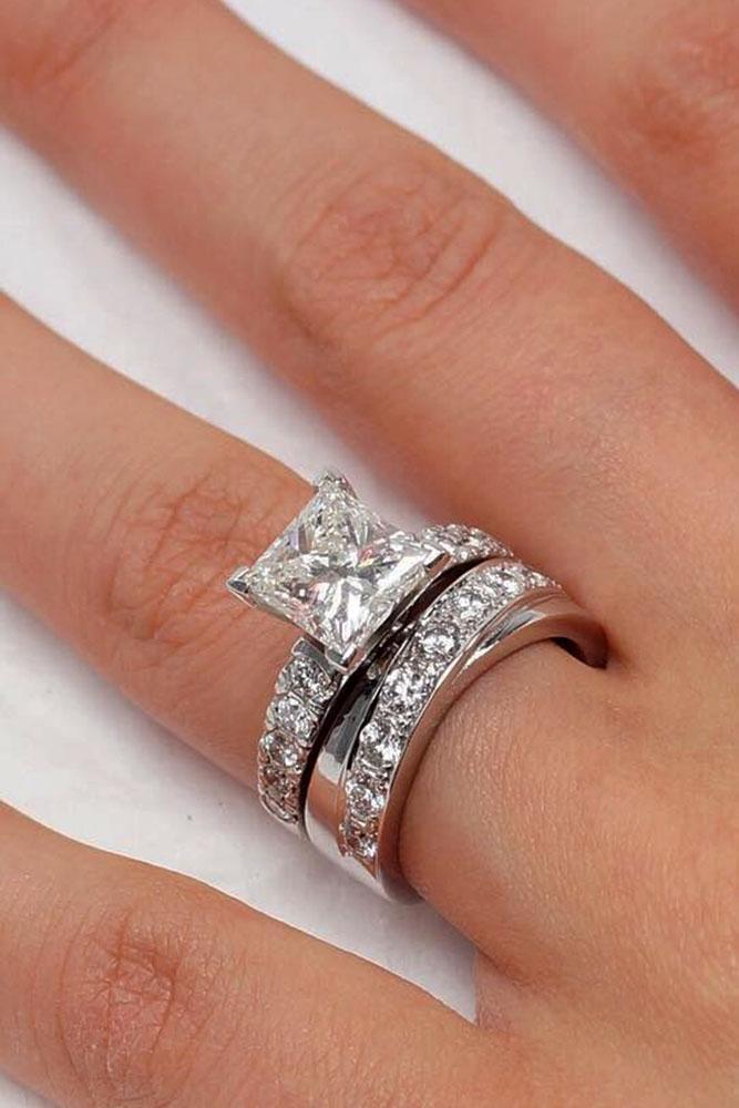 diamond wedding rings princess cut diamond unique band white gold