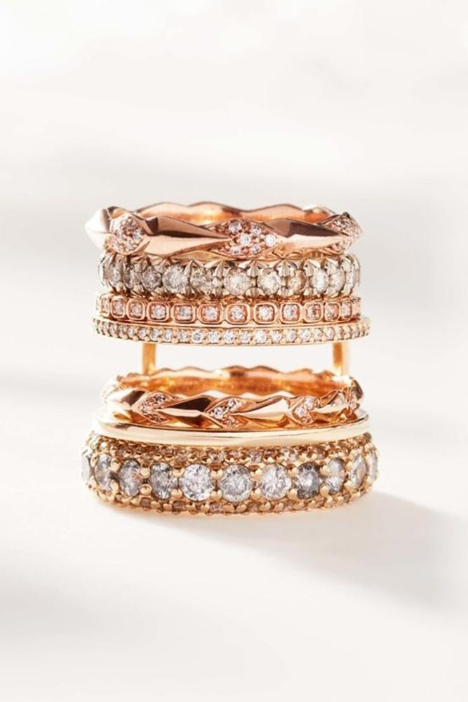 diamond wedding rings rose gold diamonds modern