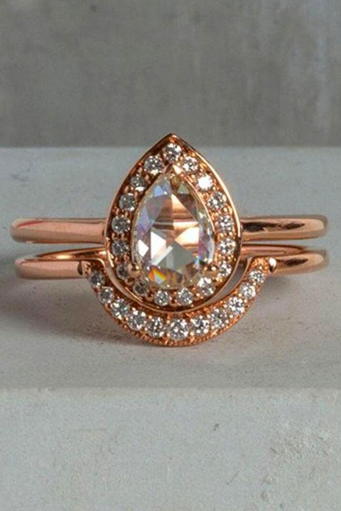 diamond wedding rings rose gold halo pear diamond
