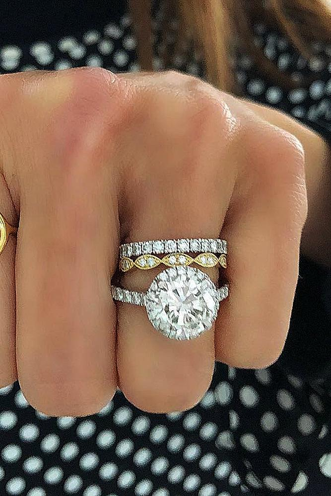 diamond wedding rings round cut halo pave band yellow white gold