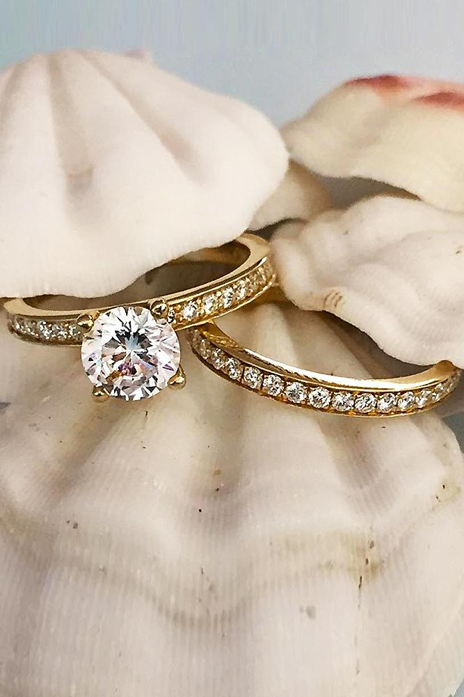 five bands diamonds elegant diamond wedding gold apart ring band rose simple space media bandsimple stackable ringstackable solid