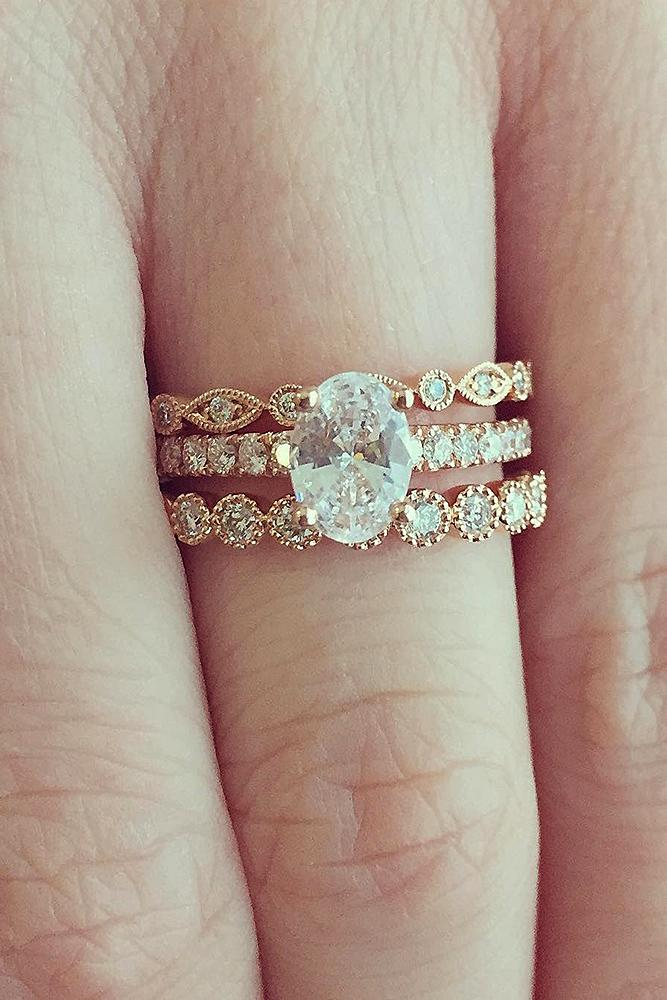 diamond wedding rings simple solitaire oval gold pave band