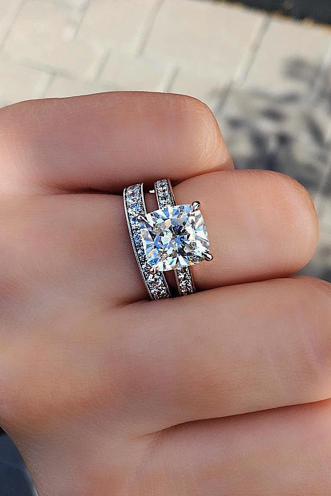 diamond wedding rings solitaire cushion cut pave band set