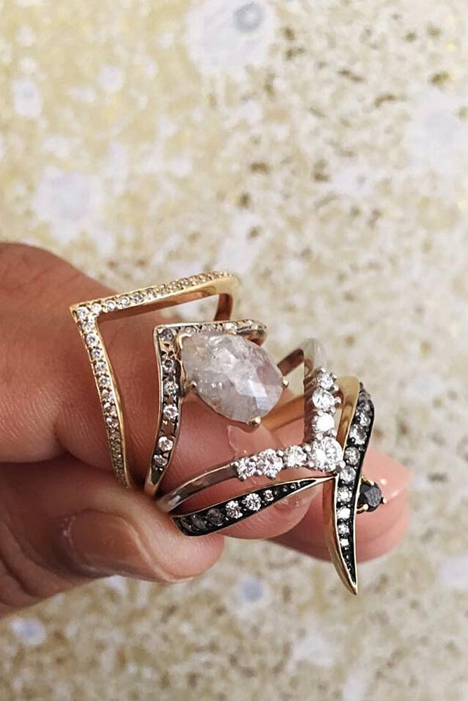 diamond wedding rings unique rose gold diamond modern