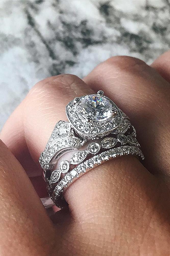 Diamond Wedding Rings White Gold Halo Round Modern
