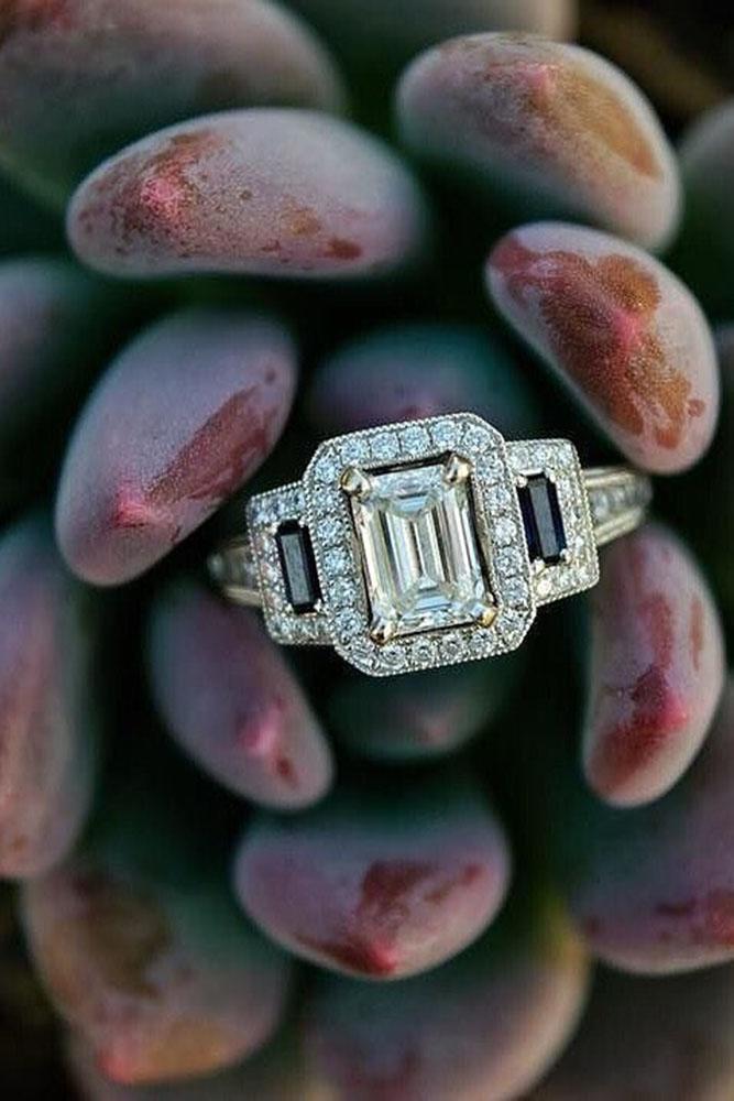 emerald engagement rings black diamond halo three stone ring