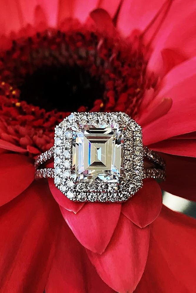 emerald engagement rings double halo split pave band