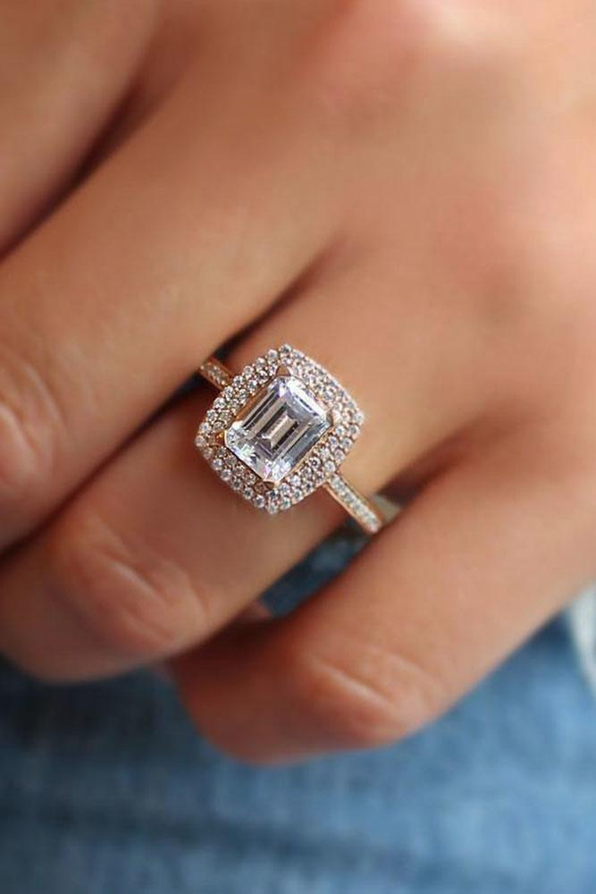 emerald engagement rings double halo white gold pave band