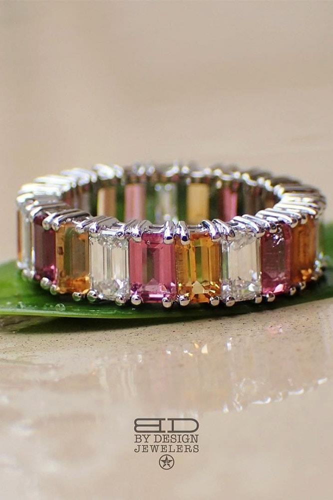 emerald engagement rings emerald cut yellow pink white gemstones eternity band rings amazing