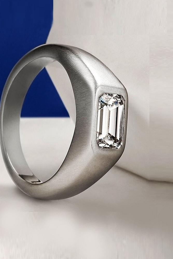 emerald engagement rings for him diamond emerald cut mens platinum ring