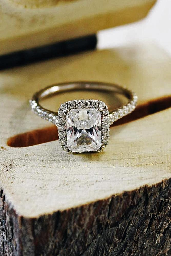 emerald engagement rings halo white gold diamond pave band