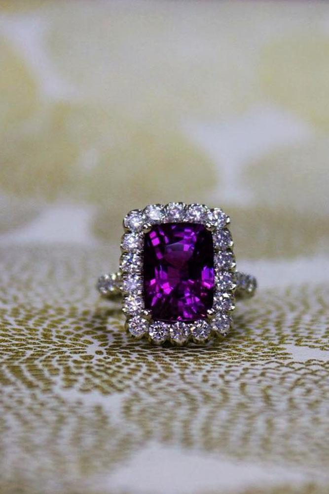 emerald engagement rings halo white gold purple sapphire