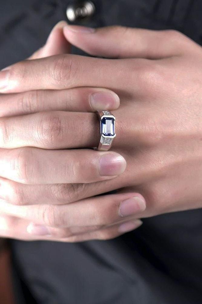 emerald engagement rings mens white gold emerald cut blue gemstone