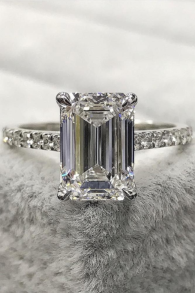 emerald engagement rings pave band white gold solitaire diamond