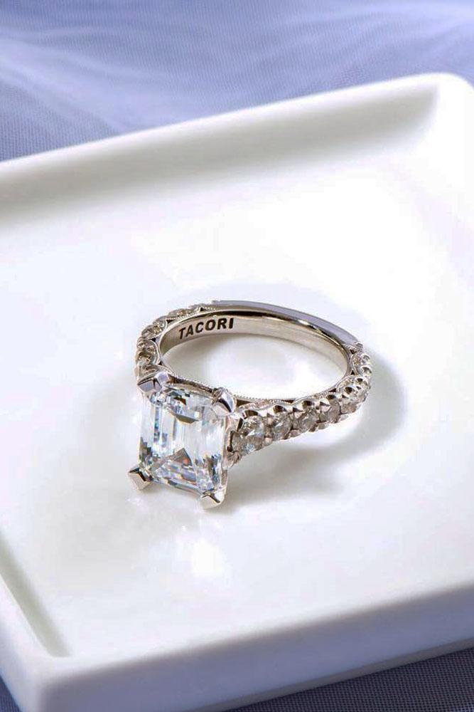 emerald engagement rings pave diamond band solitaire