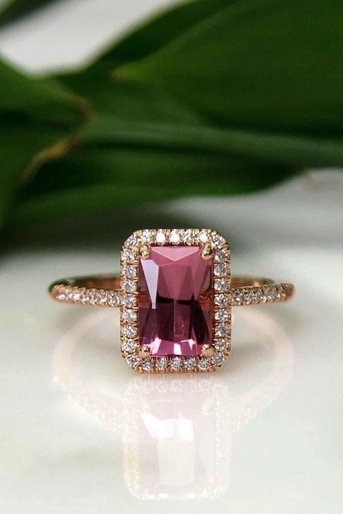 emerald engagement rings rose gold diamond halo pink tourmaline
