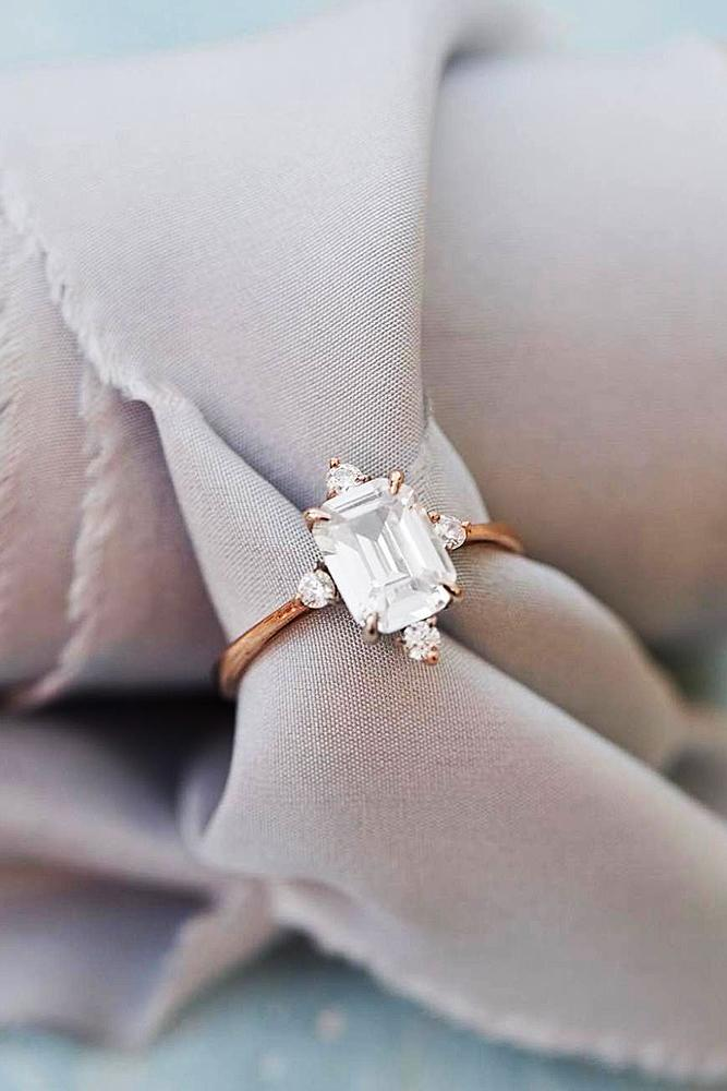 emerald engagement rings rose gold diamonds solitaire modern