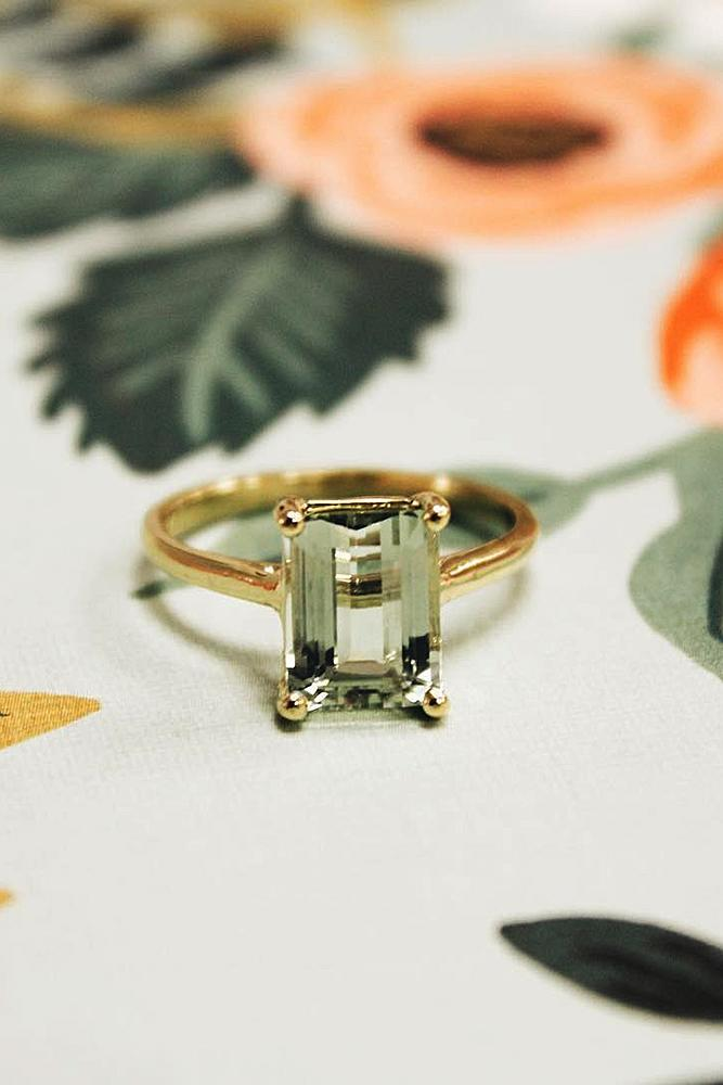 emerald engagement rings rose gold gemstone simple