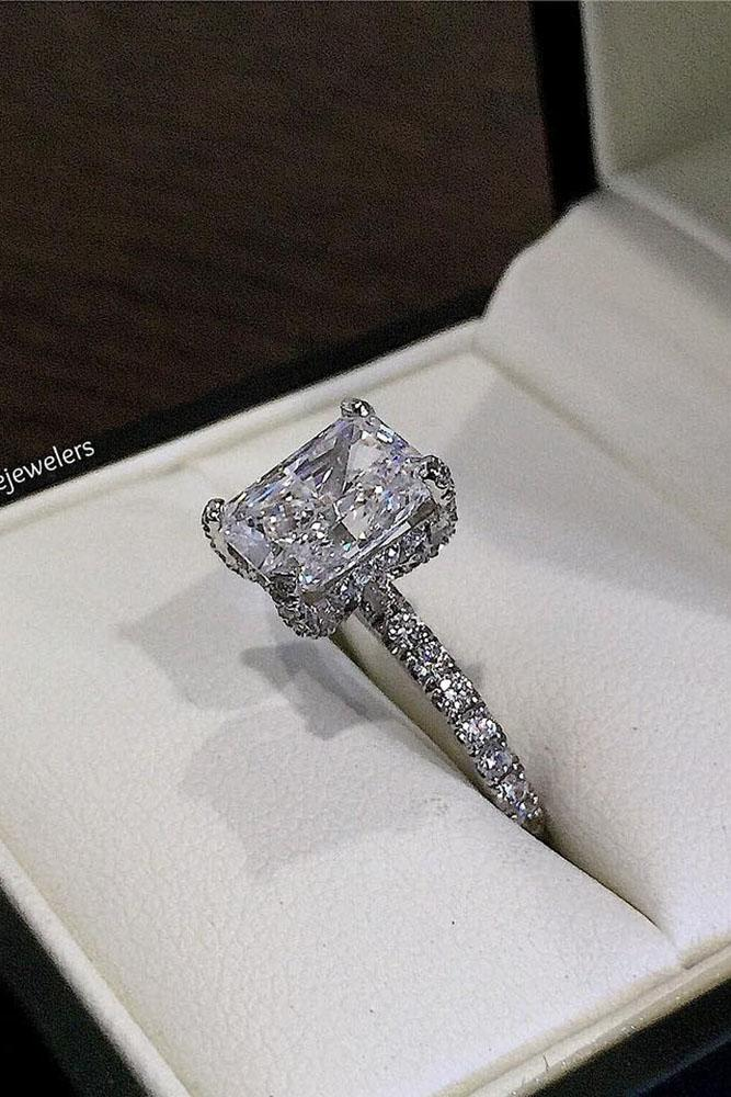 emerald engagement rings solitaire diamond pave band white gold