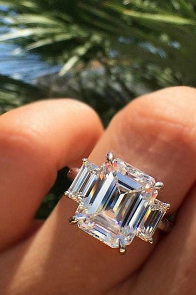 emerald engagement rings three stone diamonds rose gold