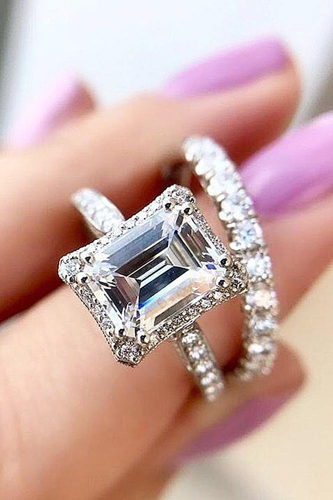 emerald engagement rings wedding set pave band solitaire
