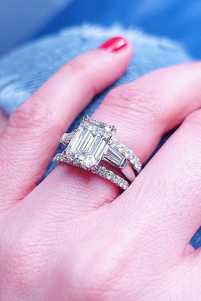 emerald engagement rings wedding set solitaire diamond