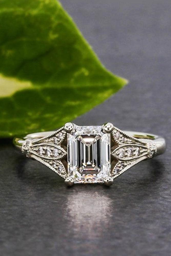 emerald engagement rings white gold vintage center diamond