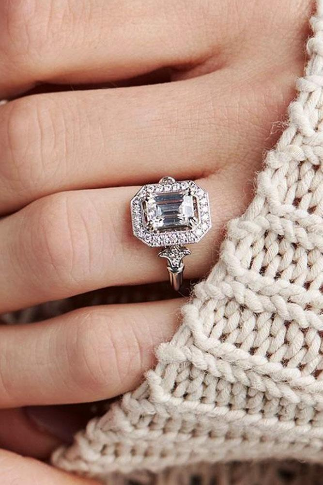 emerald engagement rings white gold vintage halo