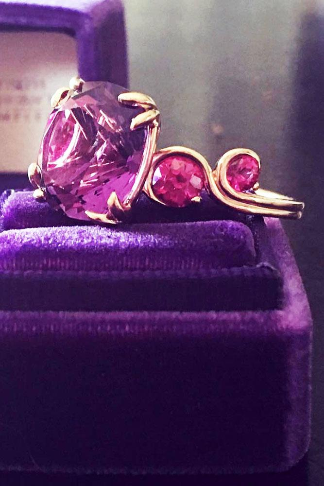 gemstone engagement rings amethyst and pink sapphires yellow