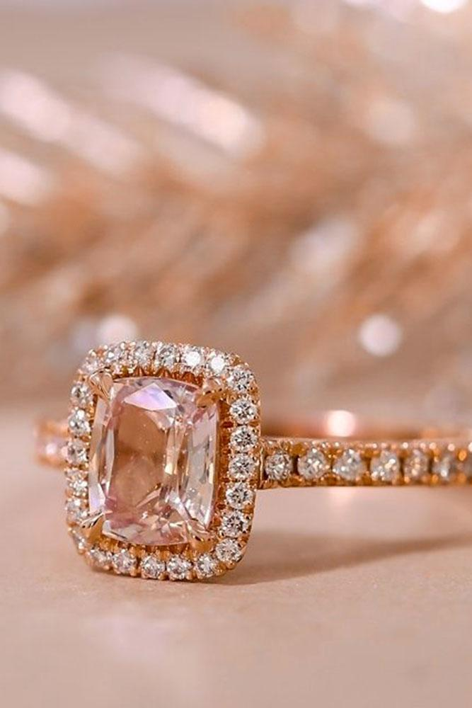 gemstone engagement rings diamond halo pave band rose gold sapphire