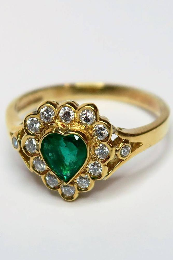 gemstone engagement rings heartcut emerald diamond halo yellow gold band