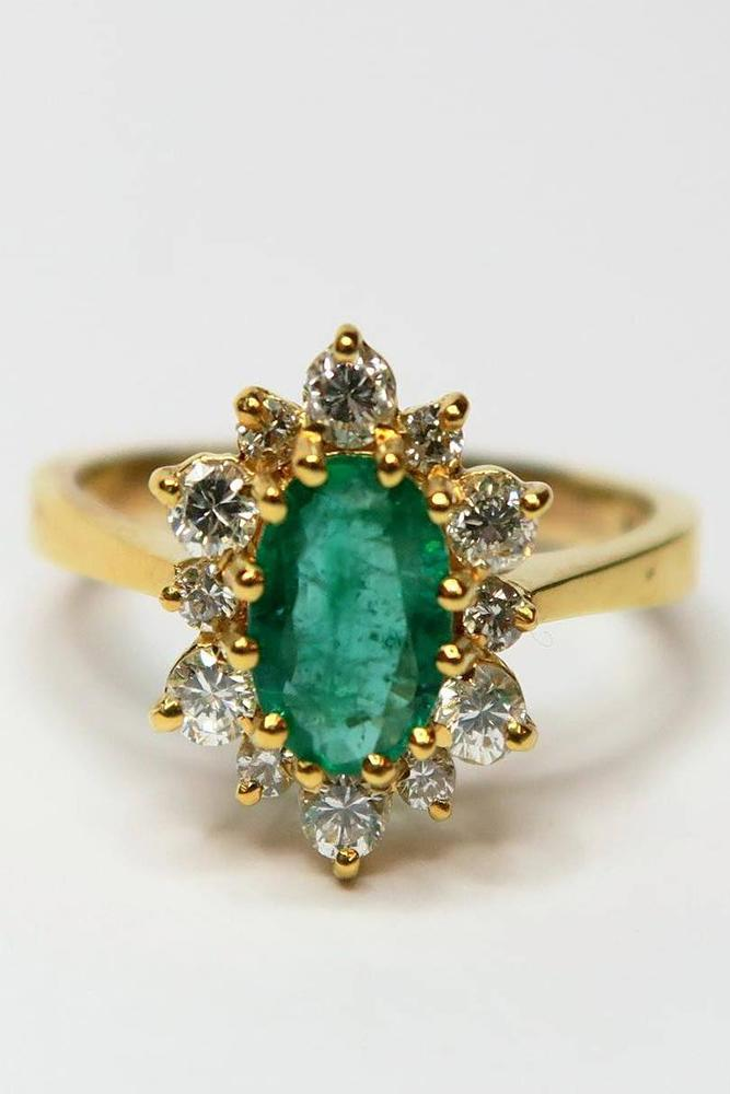 gemstone engagement rings ovalcut emerald stone vintage diamond halo gold