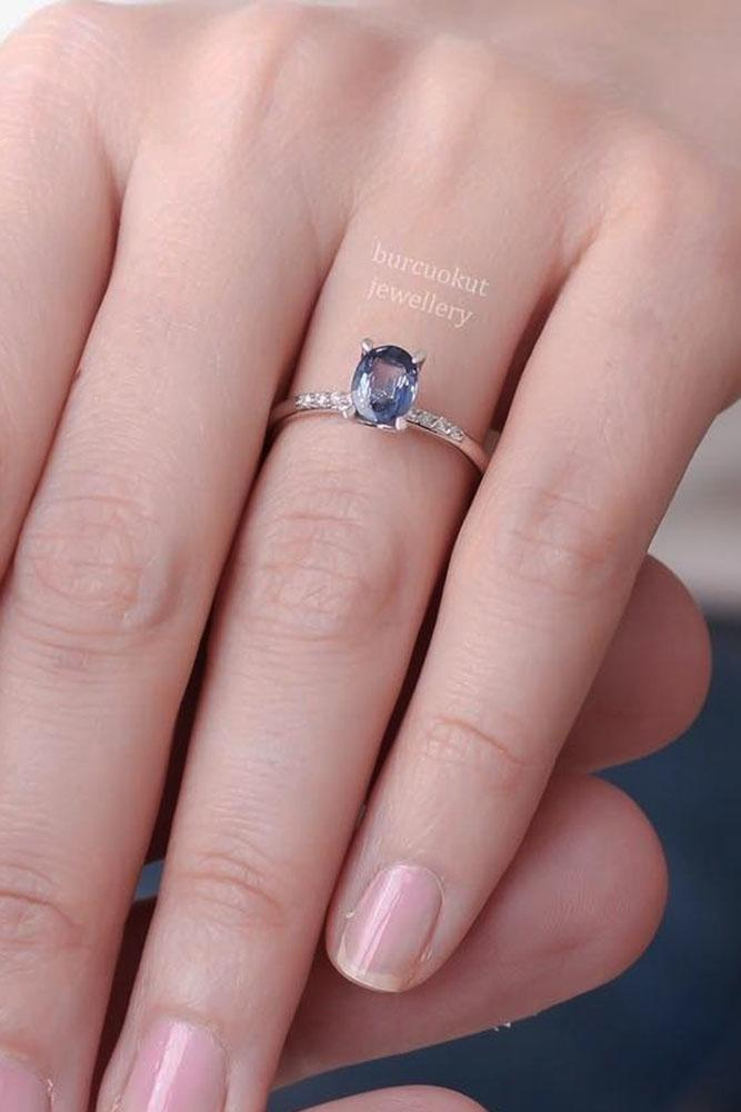 gemstone engagement rings pave band white gold sapphire solitaire